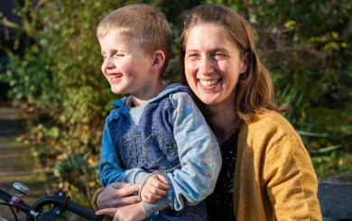 Laura and her son Enzo, who is blind due to Leber congenital amaurosis