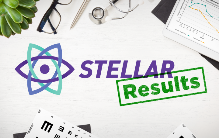 The Stellar logo with a green stamp 'Results' displayed on a deck scattered with a plant, an eye chart, glasses, and a graph.
