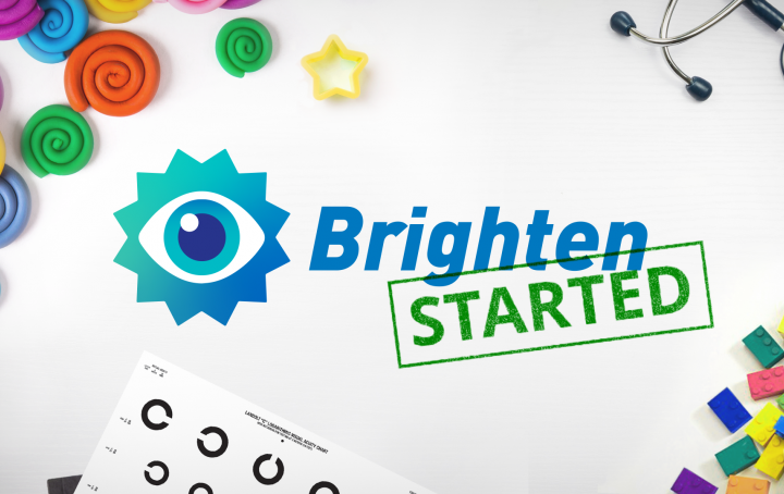 The Brighten logo with a stamp 'Started' on a desk scattered with toys, a stethoscope and an eye chart.