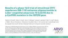 ARVO 2020 - Sepofarsen phase 1b/2 clinical trial results for Leber congenital amaurosis 10