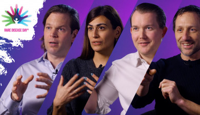 A collage of four ProQRians on a purple background. From left to right: Daniel de Boer, Eleni Skandalaki, Andy Bolan and Marko Potman. At the top left is the logo of Rare Disease Day